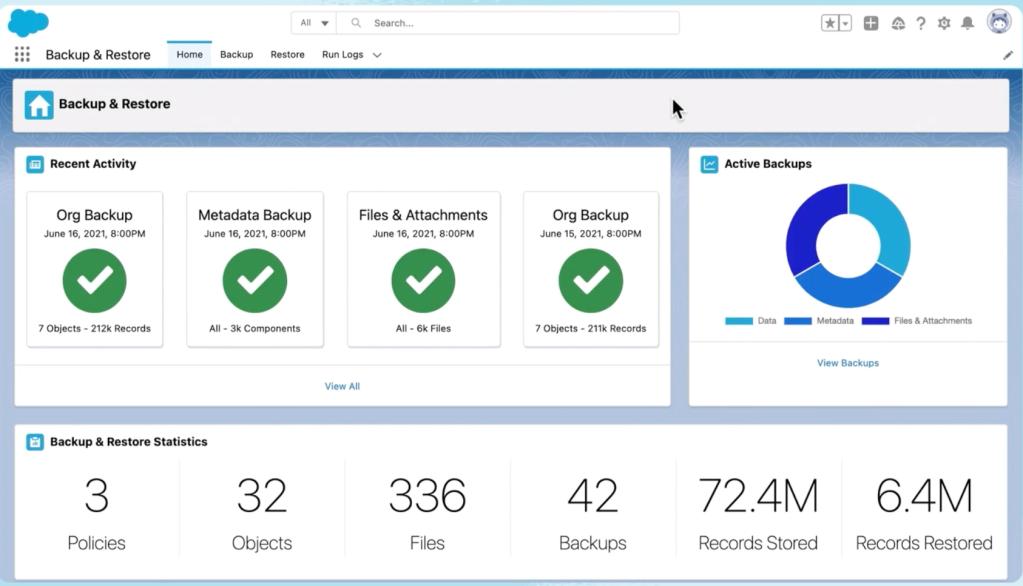 Backup screen showing activity, active backups, and statistics