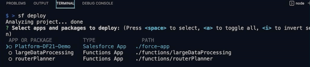 SF deploy command as part of the CLI
